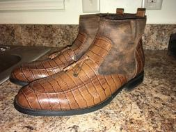 Men's Brown Gator Croc Leather Ankle Dress Boots Size 44 US