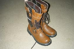 Men's Brown Leather Boots w/Zipper, Buckle & Lace up    ***J