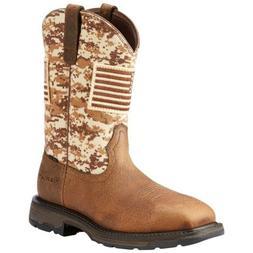 Ariat Men's Brown Workhog Patriot Square Steel Toe Work Boot