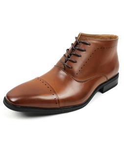 Men's Dress Boots Lace Up Cognac Brown Detailed Cap Toe PARR