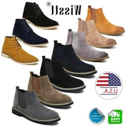 Men's Flat Suede Ankle Slip On Ankle Boots Smart Casual Dese