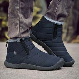 Men's Fur Lined Winter Shoes Outdoor Non-Slip Ankle Boots Ca