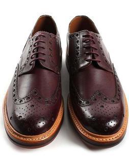 Handmade Men's Genuine Brown Leather Oxford Brogue Wingtip D