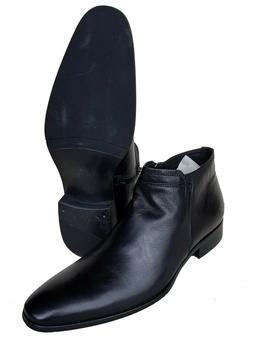 Capori Men's Genuine Calf Leather Black Italian Style Zipper