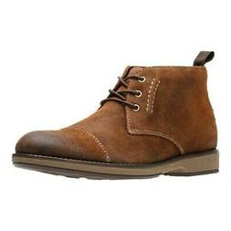 Clarks Men's   Hinman Mid Chukka Boot Dark Tan Suede Size 10