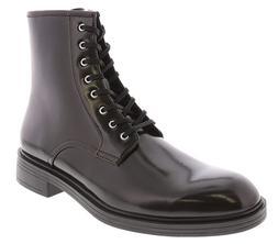 Calvin Klein Men's Keigan Box Leather High-Top Boot, Dark Br