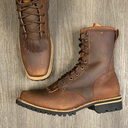 MEN'S LACER WORK BOOTS WESTERN SOFT BROWN LEATHER RUBBER SOL