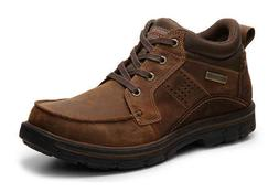 SKECHERS Men's Leather Ankle Boots, Med and Extra Wide, Wate