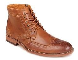 Kunsto Men's Leather Classic Brogue Boots Brown D 10 M US
