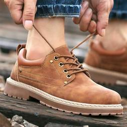 Men's Leather Oxfords Outdoor Lace Up Work Winter Ankle Boot