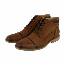 Steve Madden Men's Leeman Cap-Toe Boots, Dark Tan, 11.5 M