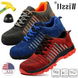Men's Lightweight Steel Toe Safety Shoes Work Boots Mesh Run