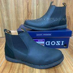 IZOD Men's Lucas Pull-On Chukka Memory Foam Boots ~ Black ~