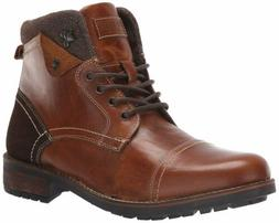 Steve Madden Men's LUNDIN Combat Boot, Cognac Leather, 11.5