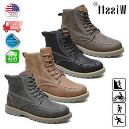 Men's Martin Ankle Boots Waterproof Lace-Up Nubuck Leather S