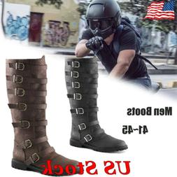 Men's Motorcycle Boots Riding Pirate Boots Buckle Military C