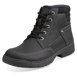 Clarks Men's Newbern Hi Black Leather Lace-up Ankle Boots St