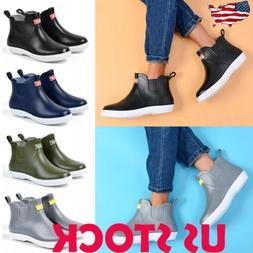 Men's Non-slip Low Top Rain Boots Waterproof Flat Slip On Ru