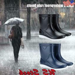 Men's Rain Boots PVC Waterproof Slip-Resistant Work Shoes Ru