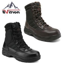 NORTIV 8 Men's Steel-Toe Safety Work Boots Anti-Slip Militar