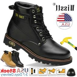Men's Safety Work Shoes Steel Toe Boots Waterproof Leather W