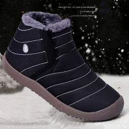 Men's Snow Boots Casual Loafers Fur Lined Flats Winter Outdo