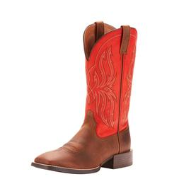 Ariat® Men's Sport Rustler Distressed Brown & Rogue Red Boo
