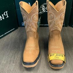 MEN'S SQUARE STEEL TOE & SOFT TOE WORK BOOTS PULL ON OIL RES