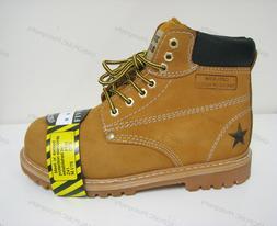 "Men's Steel Toe Work Boots 6"" Tan Nubuck Leather Ankle Slip"