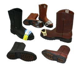 MEN'S STEEL TOE WORK BOOTS PULL ON SAFETY GENUINE LEATHER  O