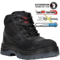ROCKROOSTER Men's Work Boots Steel Toecap Side Zip Boots Lac