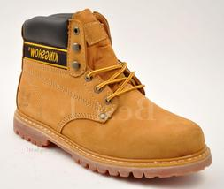 Kingshow Men's Tan/Yellow Work Boots Shoes Leather Winter Sn