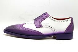 Men's Handmade Two Tone Purple & White Leather Oxford Brogue