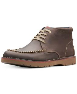 Clarks Men's Vargo Apron-Toe Leather Chukka Boots Size 8 Dar