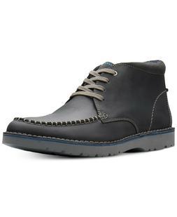 Clarks  Men's Vargo Apron-Toe Leather Chukka Boots Black Siz