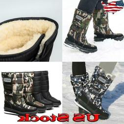 Men's Waterproof Mid Calf Boots Camo Snow Winter Fur Lined W