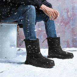 Men's Waterproof Snow Boots Mid-Calf Platform Shoes Slip On