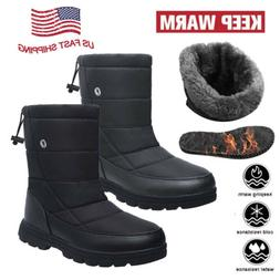 Men's Waterproof Winter Snow Boots Full Fur Lined Non-Slip O