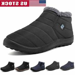 Men's Winter Boots Fleece Ankle Outdoor Thicken Shoes Slip O