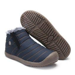 Men's Women's Ankle Snow Boots Winter Warm Fur Lining Slip O