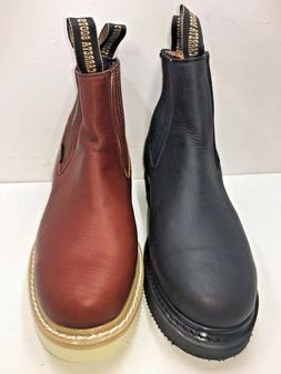Men's Work Boots/Booties Pull On Leather Brown oil water res