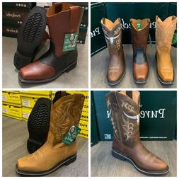 MEN'S WORK BOOTS GENUINE LEATHER STRAP SQUARE PIG TOE RODEO