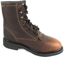 "MEN'S WORK BOOTS 7"" HEIGHT ROUND TOE GENUINE LEATHER LACE UP"