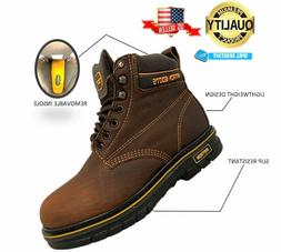 MEN'S WORK BOOTS ROUND TOE GENUINE LEATHER LACE UP SAFETY BR