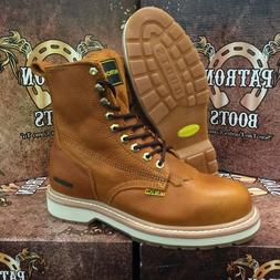 MEN'S WORK BOOTS ROUND SOFT TOE GENUINE LEATHER LACE UP SAFE