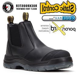 ROCKROOSTER Men's Work Boots Steel toe Antistatic Black leat