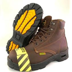 MEN'S WORK BOOTS STEEL TOE GENUINE LEATHER LACE UP SAFETY OI