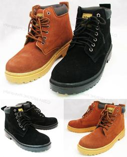 "Men's Work Boots Suede Leather 6"" Lace-Up Cushioned Padded W"