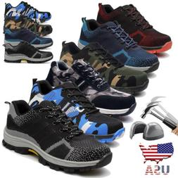 Men's Safety Shoes Steel Toe Work Boots Breathable Hiking Cl