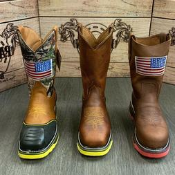 MEN'S WORK STEEL TOE BOOTS AMERICAN FLAG STYLE SOFT LEATHER